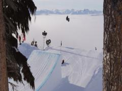3K snowboarder hit big jump over the clouds 2 Stock Footage