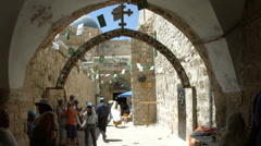 4K UHD Christian Pilgrims at Via Dolorosa Old City Jerusalem Stock Footage