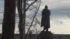 Dismantling monument Lenin statue Stock Footage