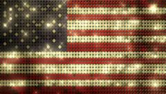 American golden glitter flag pins - alpha matte - 1080p Stock Footage