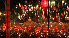 Yee-Peng festival , Thailand. Stock Footage