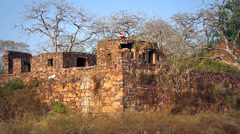 A flag waves in the wind atop Ranthambore Fort in Ranthambore, India. Stock Footage