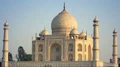 Birds (Kites) fly around the minarets of Taj Mahal in Agra, India (wide). Stock Footage