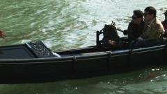 0344 Venice, Gondola with two couples of asian tourists Stock Footage