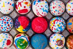Handpainted easter eggs Stock Photos