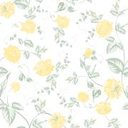 Seamless texture of pastel yellow roses for textiles - stock illustration