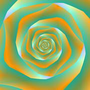 Orange and Green Spiral Rose - stock illustration