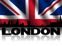 London skyline and text reflected with rippled british flag illustration Stock Illustration