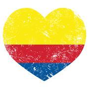 Columbian vintage flag, grunge old style isolated on white Stock Illustration
