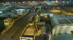 Lorry boarding Portsmouth harbour crossing Stock Footage