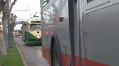 Old train tram wagon commute traffic street pier 39 port harbour San Francisco  Stock Footage