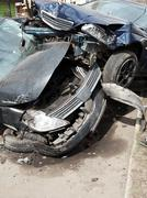 Cars damaged during road accident Stock Photos