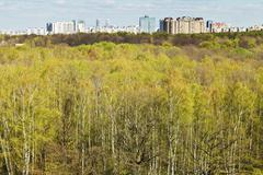Stock Photo of spring forest and urban residential district