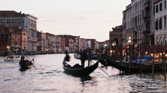 0350 Venice, gondolas at dusk in Grand Canal Stock Footage