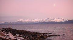 Harstad Beautiful white mountains in pink landscape Stock Footage
