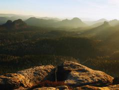 Nice spring morning view into deep misty valley in Saxon Switzerland. Stock Photos
