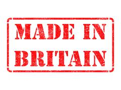 Made in Britain - inscription on Red Rubber Stamp. Stock Illustration