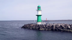 Lighthouse in warnemuende Stock Footage