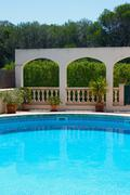 luxury apartments with swimming pool and terrace - stock photo