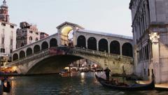 0351 Venice, Rialto Bridge at dusk Stock Footage