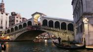 Stock Video Footage of 0351 Venice, Rialto Bridge at dusk