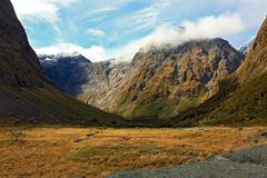 Mountain Landscape at the Milford Sound Stock Photos