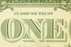 Macro detail of in god we trust on one dollar bill Stock Photos