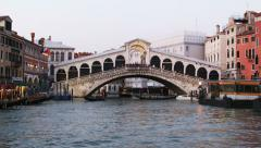 0353 Venice, Rialto Bridge at dusk Stock Footage
