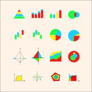icons for graphs and charts - stock illustration