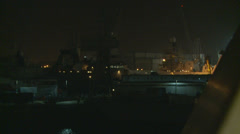 Ferrying through Portsmouth harbour at night Stock Footage