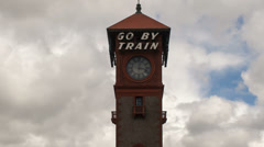 Historic Union Train Station in Portland Oregon Clouds and Sky Timelapse 1080p Stock Footage