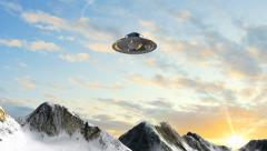 Nazi Ufo Haunebu flys over the alps - stock footage