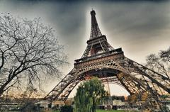 Beautiful view of Eiffel Tower with vegetation Stock Photos