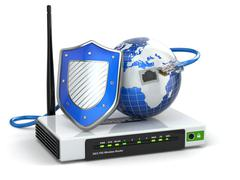 Internet security. router with shield and earth. Stock Illustration