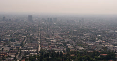 Hollywood streets below seen from Observatory 4k Stock Footage
