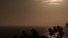 Sunset tilt tracking bird over ocean Stock Footage