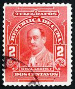 Postage stamp Cuba 1910 General Lacret, Cuban Patriot Stock Photos