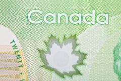 Ottawa, Canada, Avril 13, 2013,  Extreme Closeup of New Polymer Twenty Dollar Bi Stock Photos