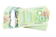 Ottawa, Kanada, Avril 13, 2013, New Polymer kahdenkymmenen dollarin laskut eristetty Kuvituskuvat