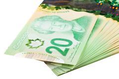 Ottawa, Canada, Avril 13, 2013,  The New Polymer Twenty Dollar Bills isolated on Stock Photos