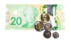 Ottawa, Canada, Avril 13, 2013,  All the actual Canadian Money Isolated on White - stock photo