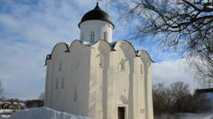 St. George Church at the fortress Old Ladoga of winter. Protection of UNESCO Stock Footage