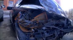 Car crashed in accident, motor hood close up Stock Footage