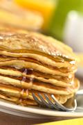 Stock Photo of pancakes with maple syrup
