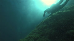 Diver swim lit by sunlight in the blue waters of Malta Stock Footage