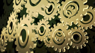 Stock Video Footage of Abstract gears in gold color on black background