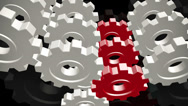 Stock Video Footage of Abstract colored gears on black background