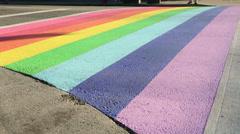 Pride Crosswalk Pedestrian Vancouver Stock Footage