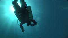 Diver swims surrounded by sun rays Stock Footage