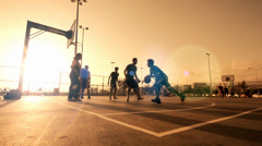 Playing Basketball ,In The Sunset,Behind The Wire Mash  Stock Footage
